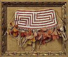 Beaded Loin Cloth, New Guinea, with feather and fringe decoration, presented in a shadowbox frame, H.- 7 in., W.- 9 in.