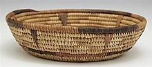 Native American Coiled Woven Straw Bowl, 20th c., H.- 2 1/2 in., Dia.- 9 3/4 in.