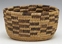 Native American Coiled Basket, early 20th c., H.- 3 1/4 in., Dia.- 6 3/8 in.