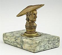 Bronze Figural Paperweight, 19th c., of a cleric, on a highly figured green marble base, H.- 4 1/4 in., W.- 4 15/16 in., D.- 3 1/8 in.