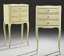 Pair of Louis XV Style Carved Beech Nightstands, 20th c., the 3/4 galleried top over three frieze drawers, on graceful cabriole legs...
