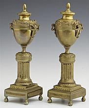 Unusual Pair of Louis XV Style Convertible Candlesticks, early 20th c., of urn form, on socle supports on reeded columns to stepped...