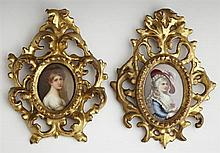 Two Oval Painted Porcelain Plaques, 19th c., presented in pierced gilt Florentine frames, Larger Plaque- H.- 2 7/8 in., W.- 2 in., F...