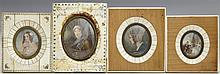 †Group of Four Miniatures, 19th c., one of a woman in ringlets, signed indistinctly center right, in a scrimshawed segmented frame; o..