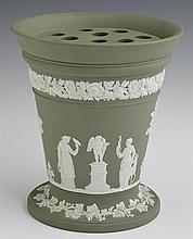 Wedgwood Green Jasperware Bough Pot, c. 1900, with insert, H.- 6 5/8 in., W.- 6 in.