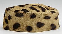 Leopard Fur Pill Box Hat, c. 1960, H.- 2 1/2 in., W.- 4 3/8 in., D.- 5 in.