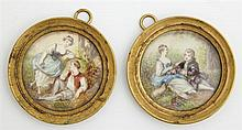 †Pair of Miniatures, late 19th c., of lovers in gardens, signed indistinctly, presented in period bronze frames, Dia.- 1 7/8 in.