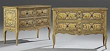 Pair of Theodore Alexander Paint Decorated Two Drawer Chests, 20th c., with Chinoisserie decoration, on cabriole legs, H.- 36 1/2 in...