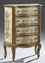 Diminutive Bow Front Florentine Chest, 20th c., with four drawers, on cabriole legs to French toes, in gilt and white decoration, H....