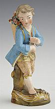 Old Paris Porcelain Figure, 19th c., in the manner of Jacob Petit, of a flower gatherer, with gilt and polychromed decoration, the u...