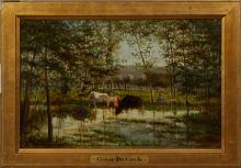 """†Cesar de Cock (1823-1904, Belgian), """"Cows Watering in a Landscape,"""" 20th c., oil on panel, signed lower right, presented in a gilt f.."""