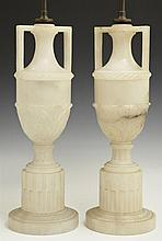 Pair of French Carved Alabaster Handled Urn Lamps, early 20th c., with relief decoration, on socle supports on reeded plinths, on st...