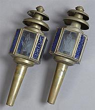 Pair of Brass Octagonal Carriage Lights, early 20th c., with four etched glass panels separated by four blue relief decorated panels...