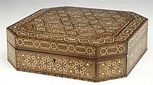 Moroccan Inlaid Octagonal Dresser Box, early 20th c., intricately inlaid with bone, wood, and mother of pearl, H.- 3 3/4 in., W.- 12...