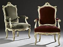 Pair of Louis XV Style Polychrome Fauteuils, 20th c., the pierced acanthus crest with scrolled ears, over a shield form back, to rel...