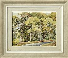 """†Nell Pomeroy O'Brien (1897-1966, New Orleans), """"Wooded Road- Biloxi, Mississippi,"""" 20th c., watercolor, signed l.l., titled verso on."""