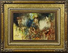 """†John Baptiste Johnny Valadie (1933- ), """"Les Fleuristes,"""" 1967, oil on canvas, signed l.r., verso with certificate of authenticity, f.."""