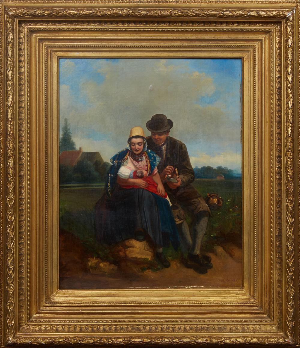 """†Adolf Dillens (1821-1877, Belgian), """"Family,"""" 19th c., oil on canvas, signed lower right, presented in a gilt frame, signature carve.."""