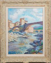 """†Lucien Roubinet (Lucien Neuquelman, 1909-1988, French), """"Roman Bridge,"""" 20th c., oil on canvas, signed lower left, presented in a po.."""