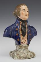 Staffordshire Bust of George Washington, 19th c., presented on a marbleized plinth, possibly by Enoch Woods & Sons, marked 354 in or...