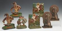 Group of Seven Cast Iron Bookends, early 20th c., consisting of a pair of Native American chiefs on horseback; a pair of Native Amer...