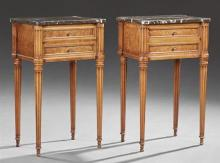 Pair of French Louis XVI Style Burled Walnut Marble Top Nightstands, 20th c., the cookie corner highly figured black marble over two...