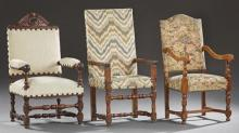 Group of Three French Louis XIII Style Fauteuils, early 20th c., consisting of an oak example with an arched crest and floret nail u...