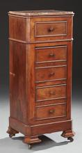 Louis Philippe Carved Walnut Marble Top Nightstand, 19th c., the highly figured inset canted corner Violette Breche d'Aleps marble o..
