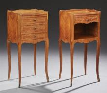 Pair of Louis XV Style Carved Mahogany Marquetry Inlaid Nightstands, 20th c., the serpentine three quarter gallery above a serpentin...