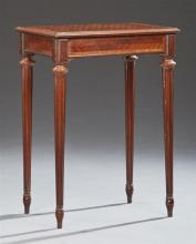 French Louis XVI Style Parquetry Inlaid and Banded Mahogany Side Table, early 20th c., the inlaid rectangular stepped edge over a fr...