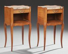 Pair of Louis XV Carved Beech Marble Top Nightstands, 20th c., the three quarter serpentine gallery with inset highly figured pink m...