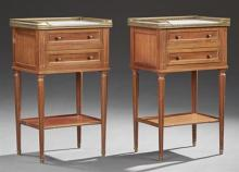 Pair of Louis XVI Style Carved Mahogany Marble Top Nightstands, 20th c., the white marble with a three quarter brass gallery above t...