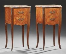 Pair of French Louis XV Style Ormolu Mounted Marquetry Inlaid Mahogany Bombe Marble Nightstands, 20th c., the stepped highly figured...
