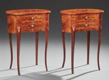 Pair of Louis XV Style Marquetry Inlaid Cherry Nightstands, 20th c., the kidney shaped top above a conforming body with two drawers...