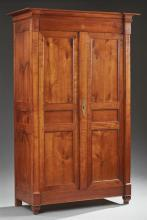 Louis Philippe Carved Inlaid Cherry Armoire, early 19th c., the breakfront ogee crown over double triple paneled doors, on a plinth...