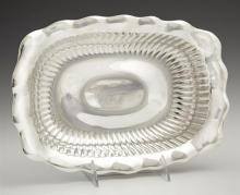 Rectangular Sterling Vegetable Bowl, early 20th c., by Wallace, #1566, with a scalloped rim around ribbed sides, H.- 1 7/8 in., W.-...