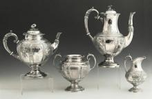 English Four Piece Silverplated Aesthetic Coffee Set, late 19th c., by William Wheatcroft Harrison, Sheffield, consisting of a coffe...