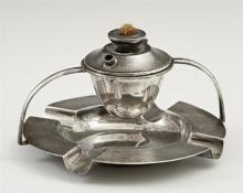 English Sterling Cigar Lighter-Ashtray, London, early 20th c., the removable lighter suspended over the ashtray, H.- 3 in., Dia.- 5...