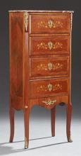 French Louis XV Style Ormolu Mounted Marquetry Inlaid Mahogany Secretary, 20th c., the highly figured violette Breche d'Alpes marble..