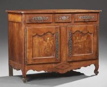 French Provincial Louis XV Style Inlaid Cherry Sideboard, 19th c., the rounded corner top over three frieze drawers above double cup...