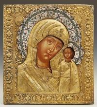 Russian Icon of the Virgin of Kazan, late 17th c., Kostroma School, with a gilt silver and enamel oklad, 1908-1917, Moscow, from the...