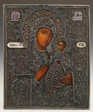 Russian Icon of the Virgin of Tikhvin, 1896-1908, Moscow, with a silver filigree and enamel oklad, with a maker's mark of