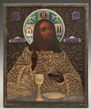 Russian Icon of Christ Blessing the Wine and Bread, 1908-1917, Moscow, with a gilt silver filigree and enamel oklad, by Samsonov Pav...