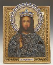 Russian Icon of Christ Pantocrator, 1896-1908, Moscow, with a gilt silver filigree and enamel oklad, by Nemirov-Kolodkin, H.- 13 in....