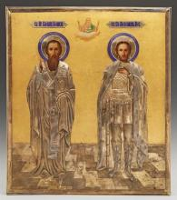 Russian Icon of Saints Basil and Alexander Nevsky, 1908-1917, Moscow, with a gilt silver and enamel oklad, with a maker's mark of