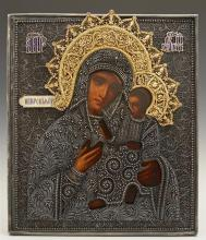 Russian Icon of the Virgin of Iverskaya, 1896-1908, Moscow, with a gilt silver filigree and enamel oklad, with a maker's mark of