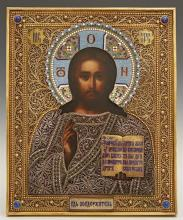 Russian Icon of Christ Pantocrator, 1893, Moscow, with a gilt silver filigree and oklad, mounted with cabochon stones, by Ivan Khleb...