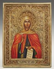 Russian Icon of Saint Tatiana, 1896-1908, Moscow, with a gilt silver filigree oklad, with a maker's mark of