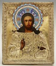 Russian Icon of Christ Pantocrator, 1841, St. Petersburg, with a gilt silver and enamel oklad, with a maker's mark of