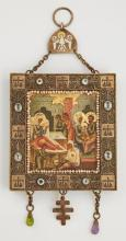 Russian Panagia of the Nativity of The Virgin, 1908-1917, Moscow, Mstera school, in a silver filigree hanging frame mounted with see...